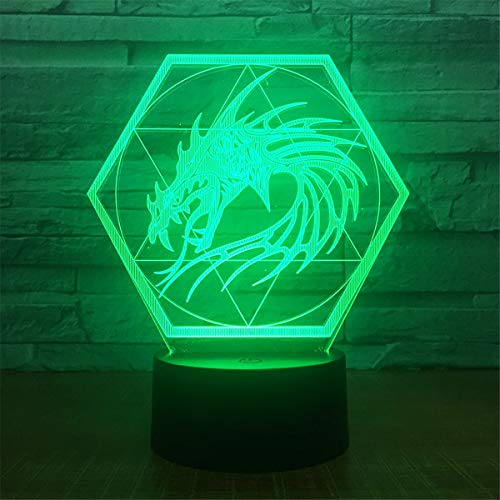 - Bella House Lovely Visual Dragon 7 Colors Remote Control Optical Illusion Night Light 3D Visualization Table Desk Lamps 3D Glow LED Lamp Art Sculpture Lights Toy Gift with Acrylic Flat