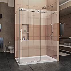 DreamLine Enigma-X 34 1/2 in. D x 60 3/8 in. W x 76 in. H Fully Frameless Sliding Shower Enclosure in Brushed Stainless Steel, SHEN-6134600-07