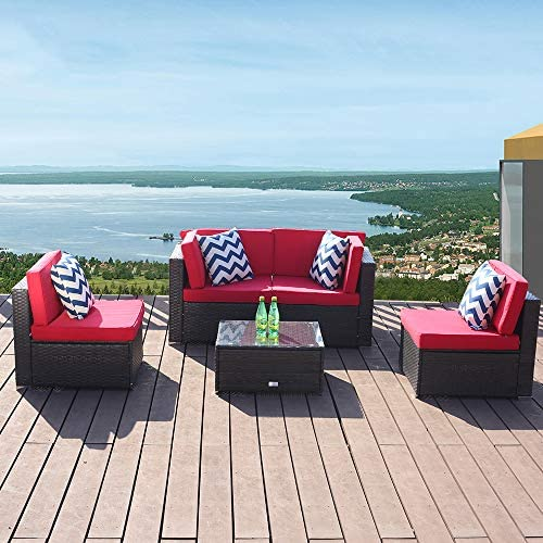 eclife Outdoor Patio Sofa Conversation Sets Rattan Sofa 5 PCS Set PE Wicker Brown Sofa Couch Furniture Set Removable Cushions W/ 4 Pillows and Tea Table Red
