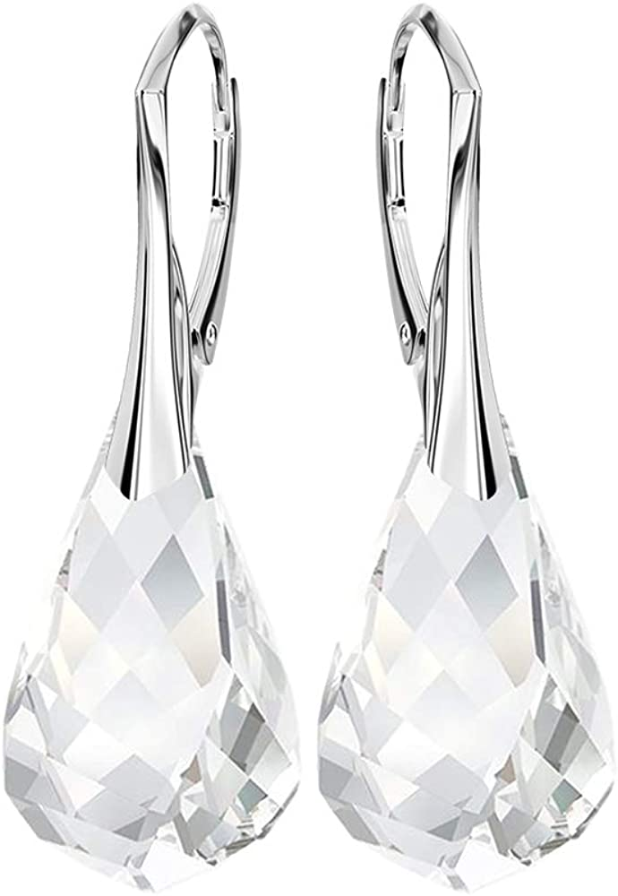 Pendientes Beforya Paris Silence of Beauty, color cristal, de plata 925, bonitos pendientes para mujer con cristales de Swarovski Elements, maravillosos pendientes