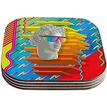 "KESS InHouse Roberlan ""Super Tacky System III "" Yellow Orange Coasters (Set of 4), 4 x 4"", Multicolor"