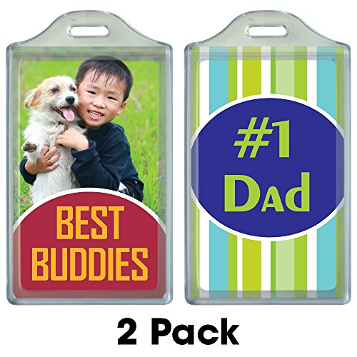 "BagTag® 2-pack – DIY Personalized Luggage Tag – Create your own custom inserts at PersonalizeItYourself.com and print at home – Also displays regular 2"" x 3.5"" business cards – Create your own style!"