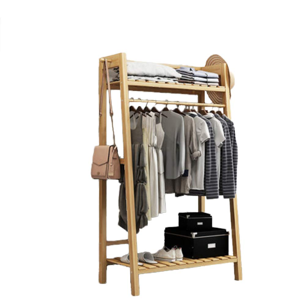N 70x40x140cm(28x16x55inch) Multipurpose Bamboo Entryway Coat Rack with Shelf, Premium Coat Stand shoes Rack, with Roller Heavy Duty Hall Home-M 50x40x140cm(20x16x55)