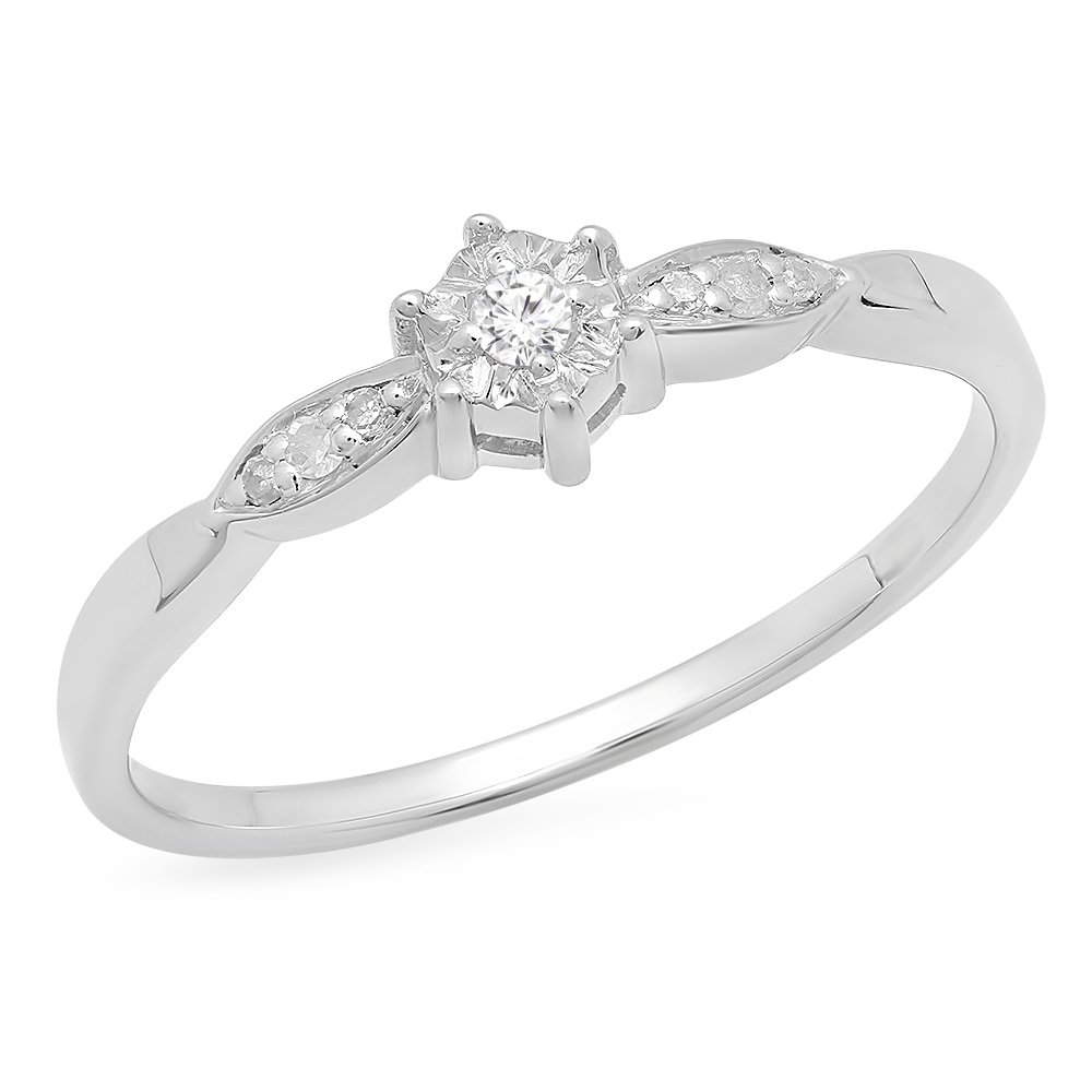 0.05 Carat (ctw) Sterling Silver Round White Diamond Bridal Promise Engagement Ring (Size 9)