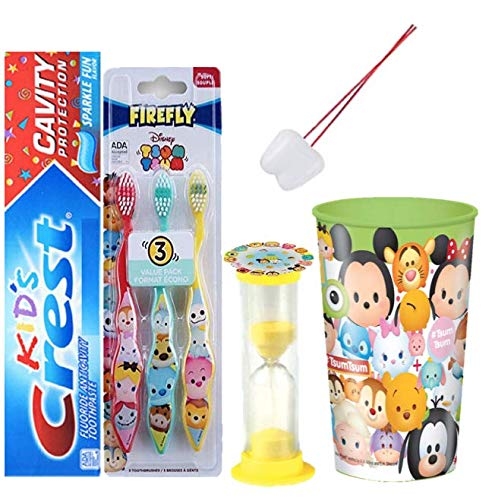 Tsum Tsum Inspired 6pc. Bright Smile Oral Hygiene Set! 3pk Soft Manual Toothbrush, Toothpaste, Brushing Timer & Mouthwash Rinse Cup! Bundle Plus Tooth Necklace as