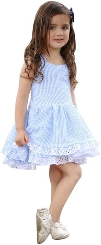 K-youth Vestido Niña, Lindo Rayas Vestido para Niñas Sin Mangas Casual Princesa Vestir Infantil de Fiesta Verano