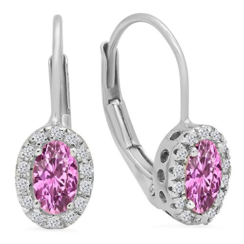 Oval Sapphire Pink Earrings (14K White Gold Oval Cut Pink Sapphire & Round Cut White Diamond Ladies Halo Style Hoop Earrings)