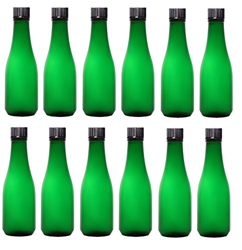 Nakpunar 12 pcs 8 oz Green Plastic Liquor Bottles - Seltzer, Champagne, Coctails, Lemoncello, Water, Wedding Favors, Olive Oils