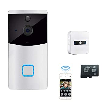 Blanco Timbre Video Wifi, Inteligente Inalámbrico Wi-Fi 720P ...