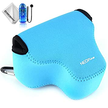 First2savvv azul Funda Cámara Reflex Neopreno Protectora para Sony Alpha a6500 ILCE-6500 (16-70mm lens) + Lector de tarjetas SD + Paño de limpieza + ...