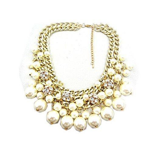 wiipujewelry Wiipu white Rhinestone Layered Cluster Ball Beads Drop Chunky Statement Bib Necklace(wp-38)