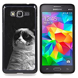 Stuss Case / Funda Carcasa protectora - Gato gruñón Negro Blanco siamés Bigotes - Samsung Galaxy Grand Prime G530H / DS