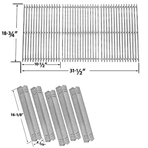 Replacement KIT for Jenn-Air 720-0709 ,720-0709B, 720-0727 Gas Grill Models - 5 Heat Shields and 8MM Stainless Steel Cooking Grates, Set of 3