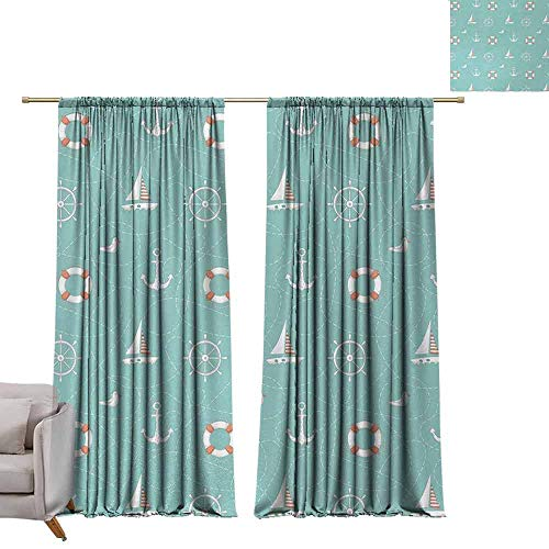berrly Waterproof Window Curtain Anchor,Nautical Arrangement with Seagull Helm and Lifebuoy Sailing Doodle,Seafoam Salmon and White W96 x L108 Window Curtain Drape -