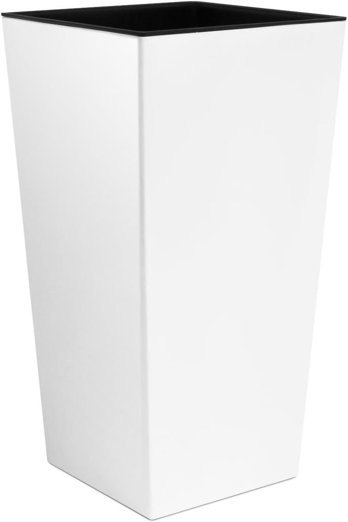Unbekannt Macetero Urbi 50cm Alto plástico Fower Pot con Interior Liner, 7Colores, weiß, 26.5x26.5x50 cm