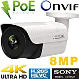 USG Ultra 4K 8MP 3840x2160 Sony IMX274 Chip H.265 IP Bullet Security Camera : 8MP 3.6mm Wide Angle Lens, PoE, IR LEDs, Weatherproof, ONVIF 17.06 : Business Grade