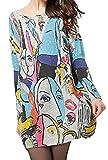 Pivaconis Womens Graffiti Print Knits Batwing Sleeve Crewneck Blouse Sweater Light Gray Free Size