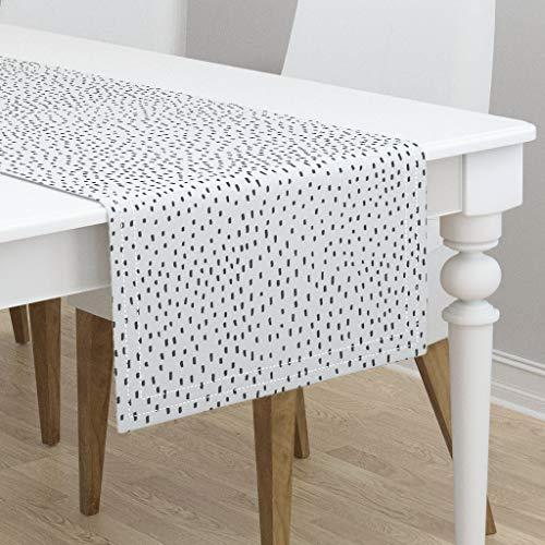 Table Runner - Black and White Minimalist Modern Dot Nursery Decor Black and White Dots Modern by Zoe Ingram - Cotton Sateen Table Runner 16 x 108