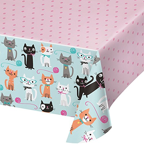 Creative Converting 329399 Tablecover, Purr-Fect Party