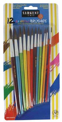 (Sargent Art 56-6012 Assorted Rainbow Round Brushes, 12 Count)