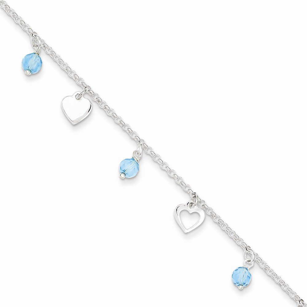 Sterling Silver 9 Polished Heart And Blue Glass W/ 1in Ext. Anklet