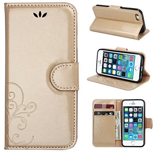 ACO-UINT PU Leather Flower Design Wallet Case with Wrist Strap for iPhone SE / 5 / 5S - Golden