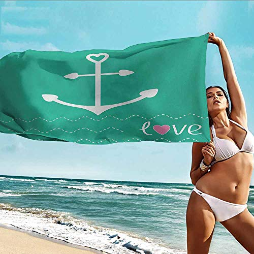 Quality Beach Towel Anchor,Anchor Heart Shapes and Wavy Lines on The Bottom Sailor Love Valentines Day,Green Pink White,Bathroom Body Shower Towel Bath Wrap -