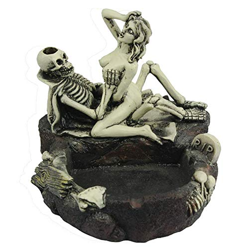 (Bonaweite Shantou Sexy Resin Ashtray | Halloween Statue Sculpture Skeleton Decor | Men Father Boyfriend Friends | Home Office Car | Easter Birthday Christmas Party Collect)