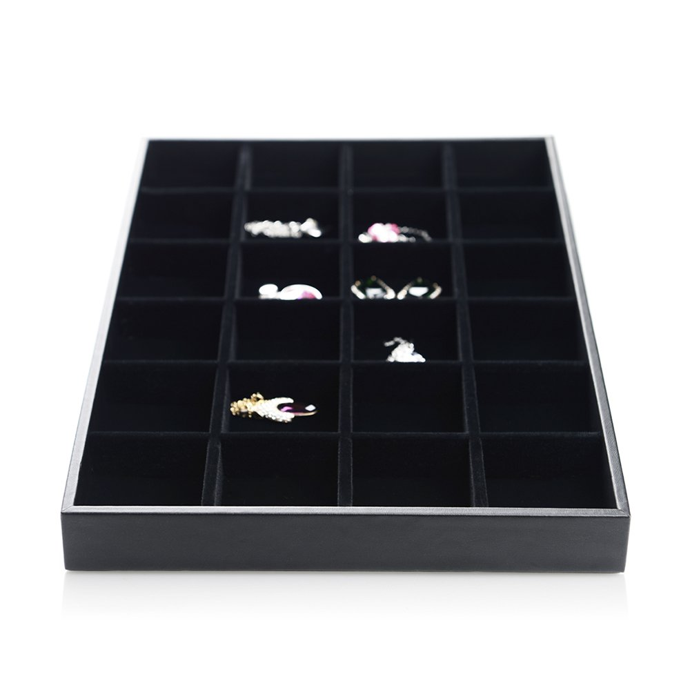 Oirlv Black Velvet Stackable Jewelry Trays Rings Earrings Display Case Home Organizer Storage Box(24 Grids)