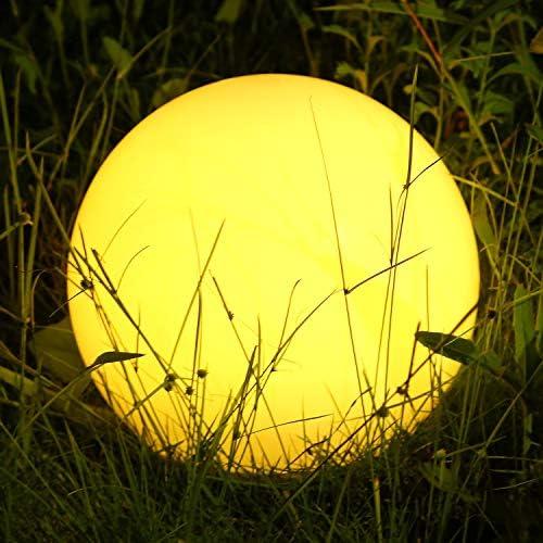 Albrillo RGB Solarlampe Außen - LED Solar Kugel mit Fernbedienung, Durchmesser 30cm mit 8 Farben, 1200mAh USB Aufladbar Kugellampe, Wasserdicht IP68 für Teich und Garten