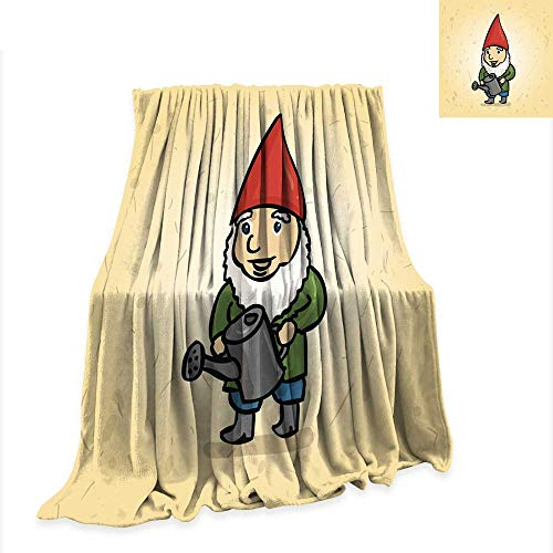 Flannel Throw Blanket Hand Drawn Garden gnome with a Watering can Watering The 60