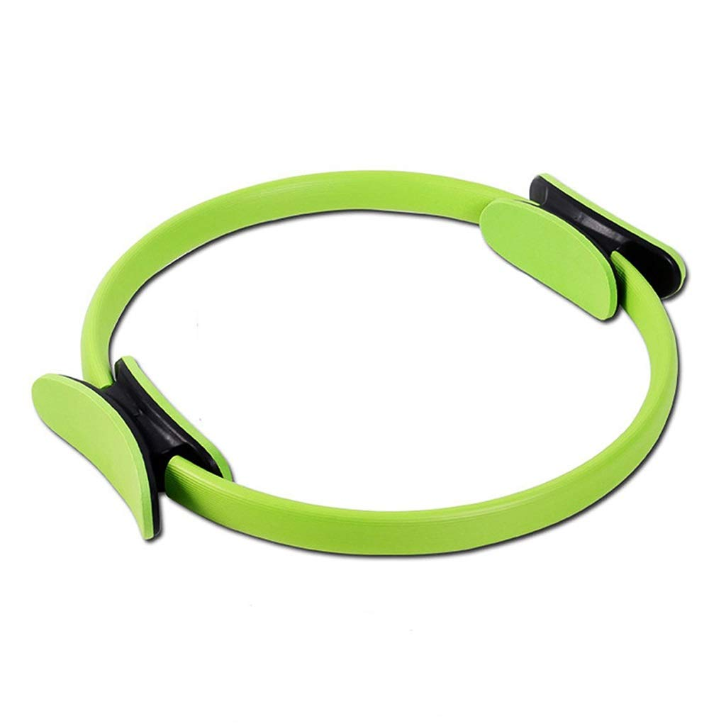 Pilates Double Handle Ring - Dual Grip Magic Exercise Fitness Circle to Burn Fat,Physical Therapy Tool Strengthen Core Core Balance (Color : Green)