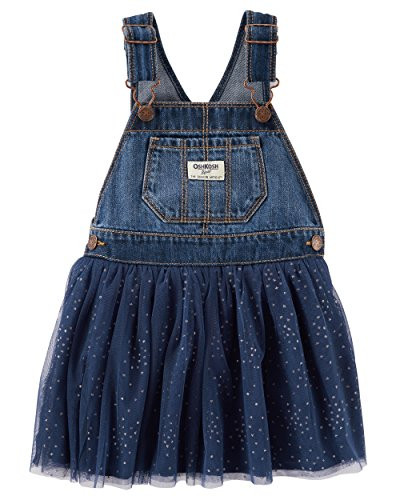 OshKosh B'Gosh Baby Girls' Toddler World's Best Overalls, Dark wash/Navy, 4T