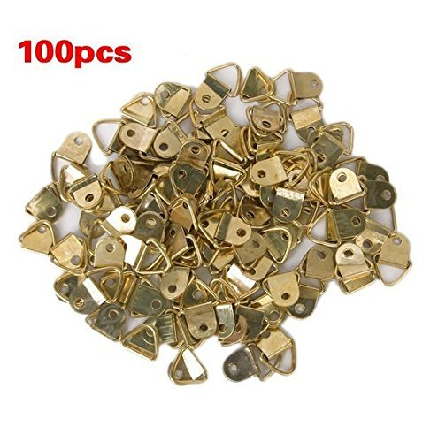 Small Triangle D-Ring Picture Frame Hangers Single Hole with Screws 100 PCS Single Screw Hole