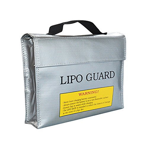 Fireproof Explosionproof Lipo Battery Safe Bag Storage Guard Bag RC Drone/Car Lipo Bag Pouch Sack for Charge & Storage 240x65x180mm Large size Handle Lipo Bag For 4pcs Battery.