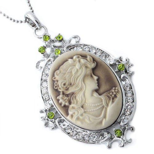 JOVIVI Vintage Crystal Silver Pendant