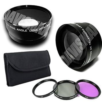 58MM 0 45X Wide Angle Lens + Macro & 2X Telephoto Lens Includes LIFETIME  WARRANTY, Lens Caps, Lens Bag + 4 Piece Macro Close Up Lens Set, 3 Piece