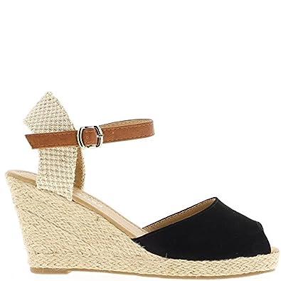 Sandalias de Cuña Negro a Tacones de Gamuza de Aspecto 8,5 cm - 40