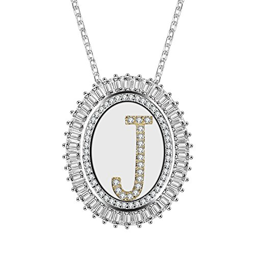Silver Tone Oval Pendant (Caperci Oval Two-Tone Cubic Zirconia Alphabet Initial Letter J Pendant Necklace for Women, 18