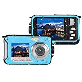 Teepao Underwater Digital Camera 24.0MP Waterproof Dual Screen Full HD 1080P Shockproof Video Camcorder Point and Shoot Self Shot Camera with Flash Light (Blue)