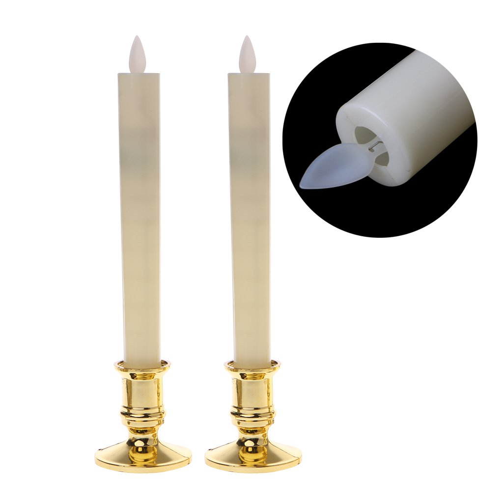 SYlive 2Pc Electric Flickering Flameless Led Candle Lights, with Removable Gold Base for Hotel,Restaurant,Bars Table Light/ Christmas Light (#1)
