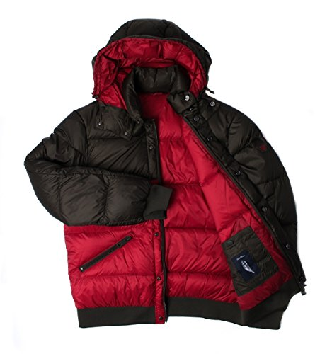 Armani Jeans Olive & Red Hooded Puffer Jacket