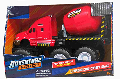 Adventure Force Diecast Friction Push N Go Truck 6 x 6 Construction Red Rockies Concrete Vehicle Truck