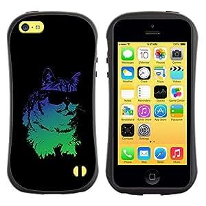 "Pulsar iFace Series Tpu silicona Carcasa Funda Case para Apple iPhone 5C , Gafas de sol del gato psicodélico de neón Arte Dibujo"""