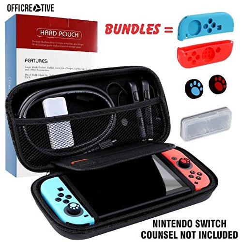 OffiCreative Protective Switch Case & Travel Cover for Nintendo Switch | Light Weighted Black Colored Nintendo Case with Free Bundle of 2 Silicon Hand grip Covers, 2 Silicon Thumb stick Covers]()