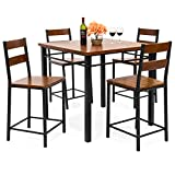 Best Choice Products 5-Piece Vintage Oak Counter Height Table Dining Set w/ Chairs (Brown)
