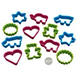 Kitchen Craft Let's Make Assorted Fun Shaped Plastic Cookie Cutters, Set of 12, Mixed