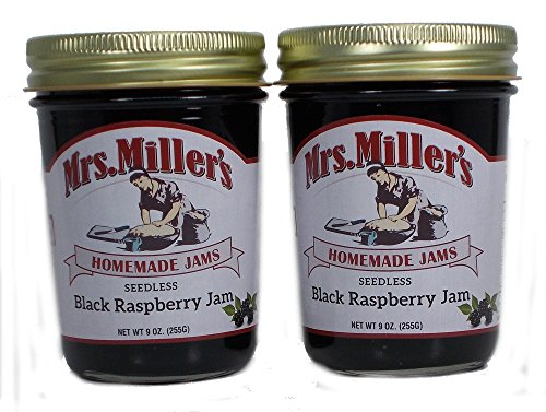 Seedless Black Raspberry Jam (Amish Made) ~ 2 / 9Oz. Jars (Seedless Black Raspberry Jam)