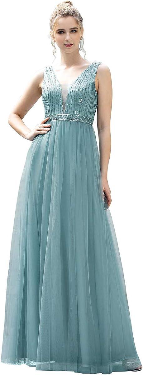 Ever-Pretty Vestidos Dama de Honor A-l/ínea Escote V Lentejuelas Tul para Mujer Elegantes 00715