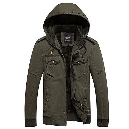 H.T.Niao Jacket8936C1 Men 's Casual and Cold Plus Cotton Jackets(Army Green,Size XXXXL)